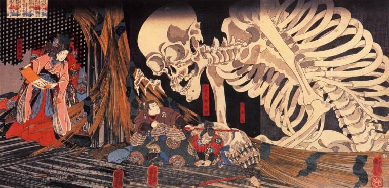 Utagawa Skelett Holzschnitt