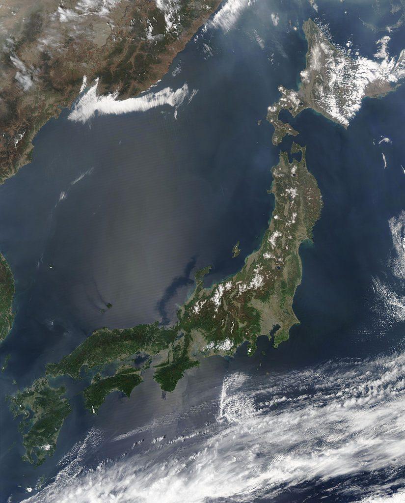 Satellitenfoto von Japan.