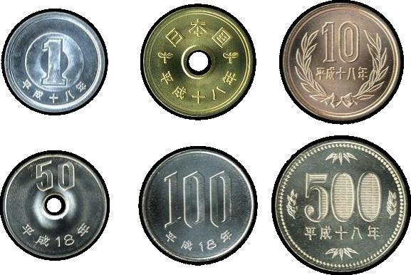 die sechs Yen Münzen