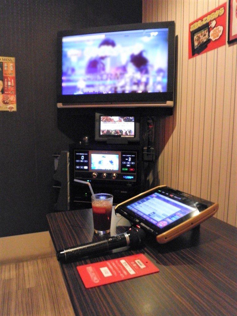 Karaoke Ausstattung: Bildschirm, Mikrofon, Touchpad mit Liedkatalog