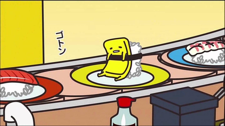 Screenshot von Gudetama als Omelett auf einem Sushi-Lieferband