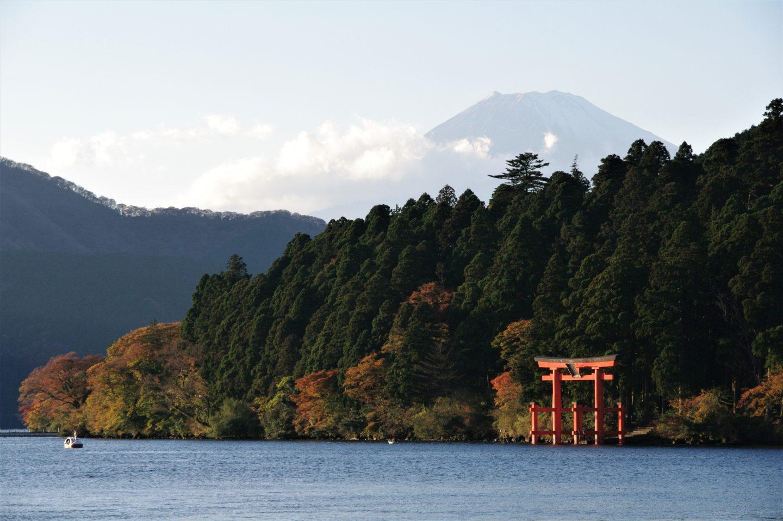 Blick auf den Fuji in der Ferne über See und Wälder