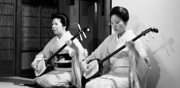 Zwei Geisha spielen Shamisen