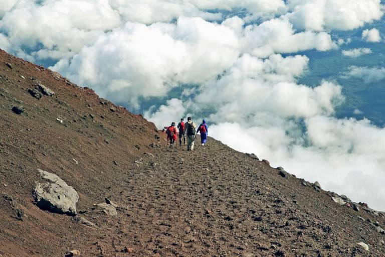 Bergsteiger auf dem Fuji