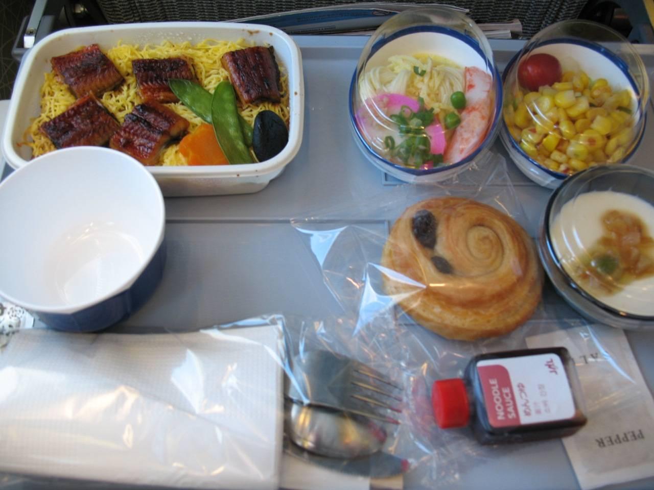 Japanisches Menü im Flugzeug