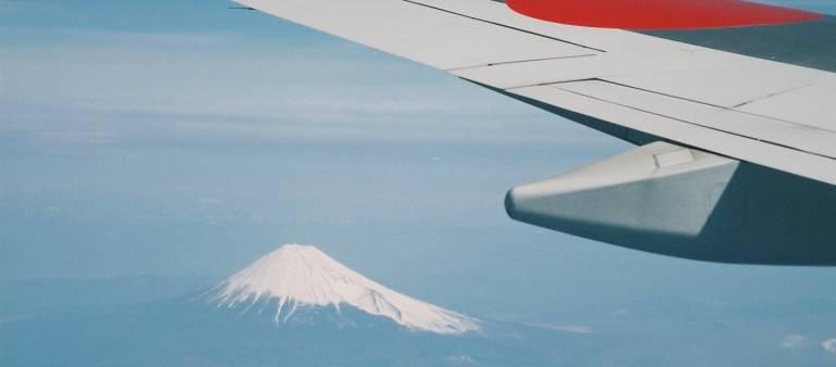 Blick auf den Fuji aus einem Flugzeug