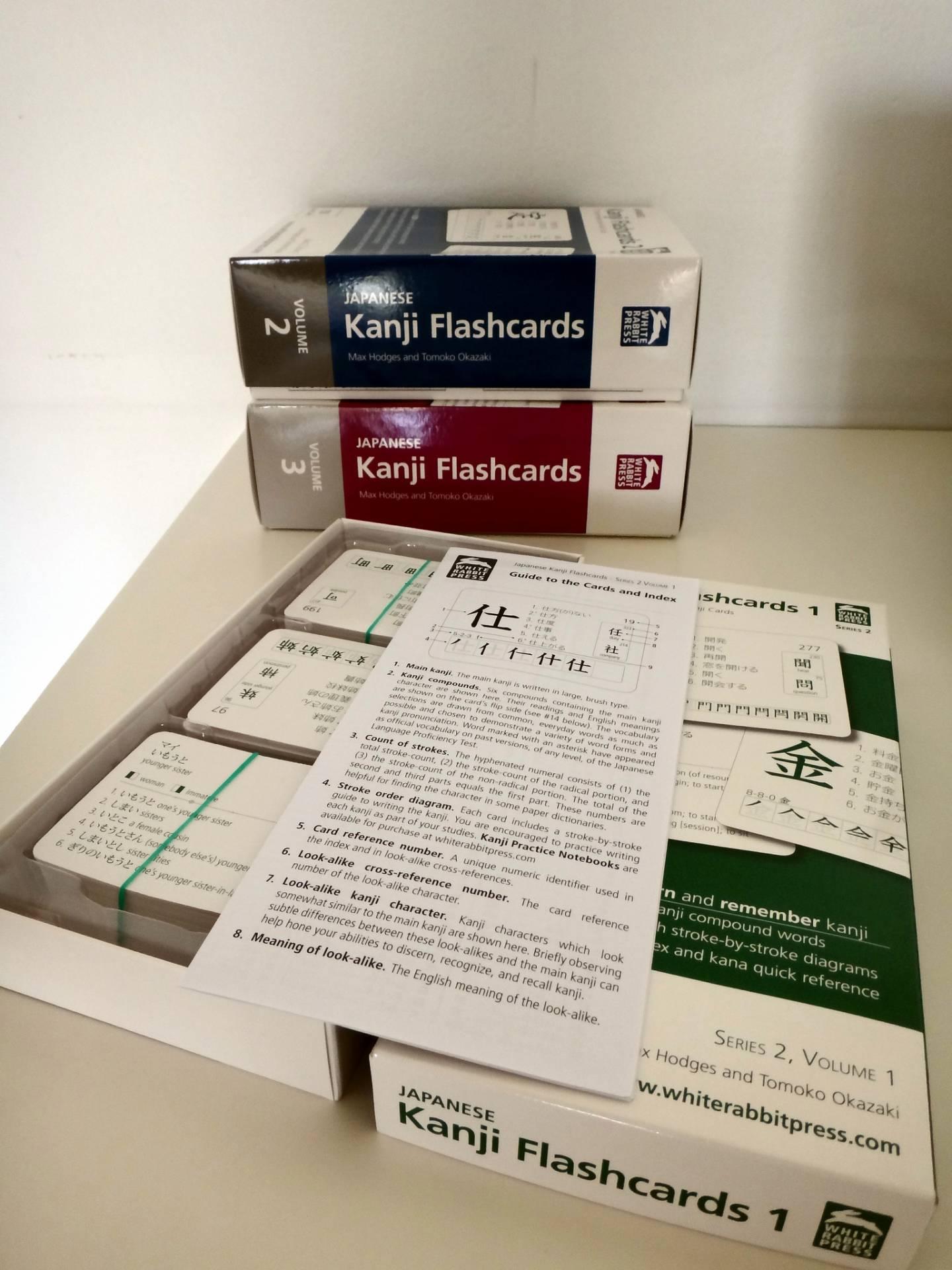 Kanji-Lernkarten in Boxen