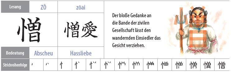 Illustration eines Kanji als grimmiger Dorfbewohner