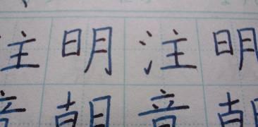 Nahaufnahme eines mit Kanji beschriebenen Blatts