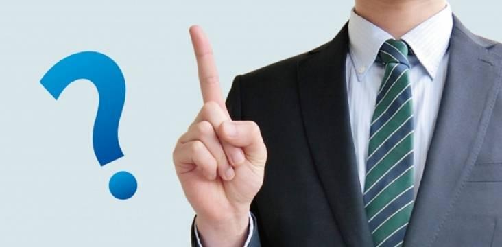 Erhobener Zeigefinger eines Mannes mit Fragezeichen-Illustration