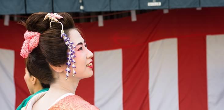 Seitenansicht einer Geisha