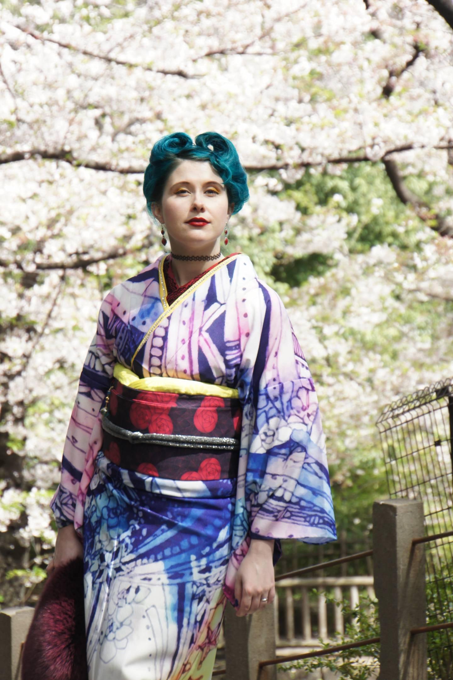Hanami im Kimono