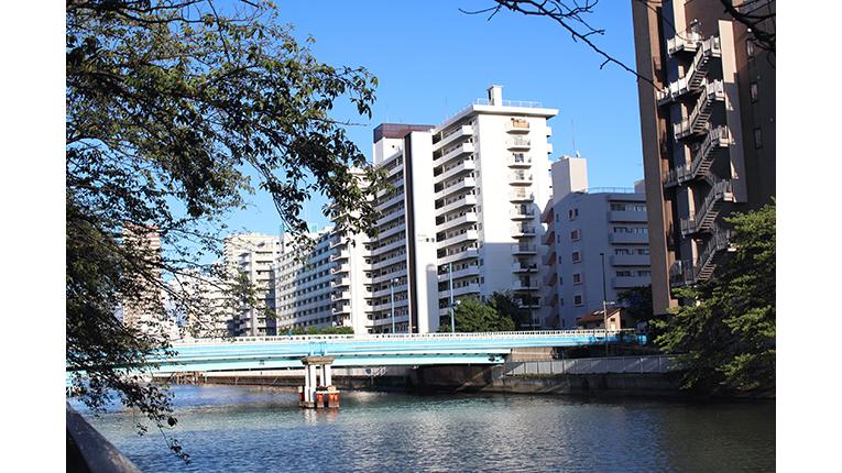 ausblick über kiyosumi über eine brücke