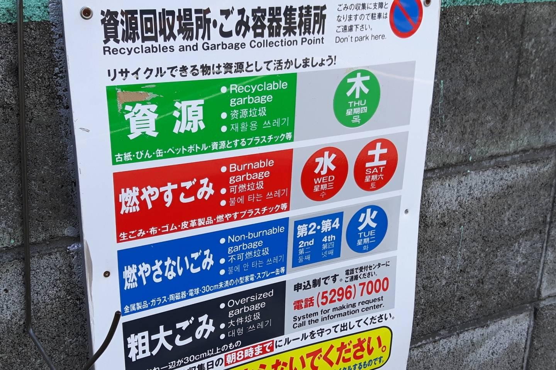 Schild zur richtigen Mülltrennung und -entsorgung in Japan