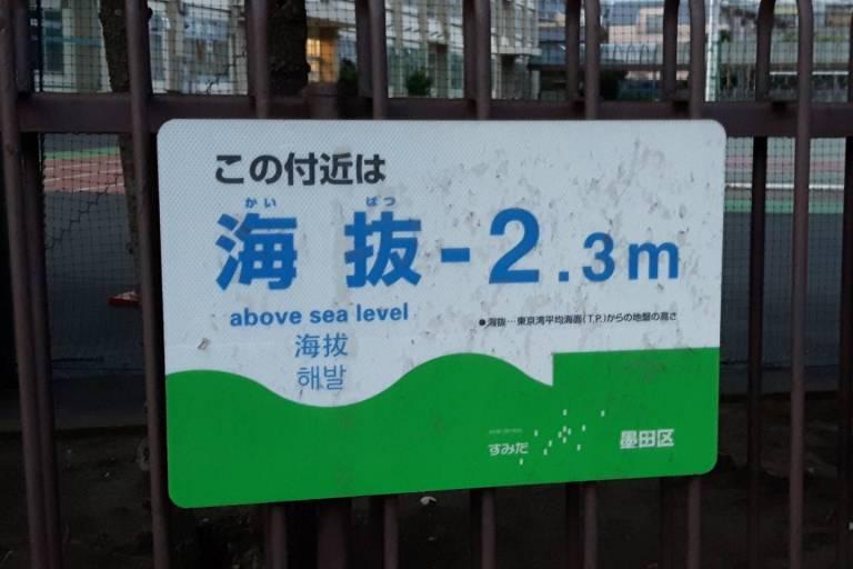 Meeresspiegel schild japan