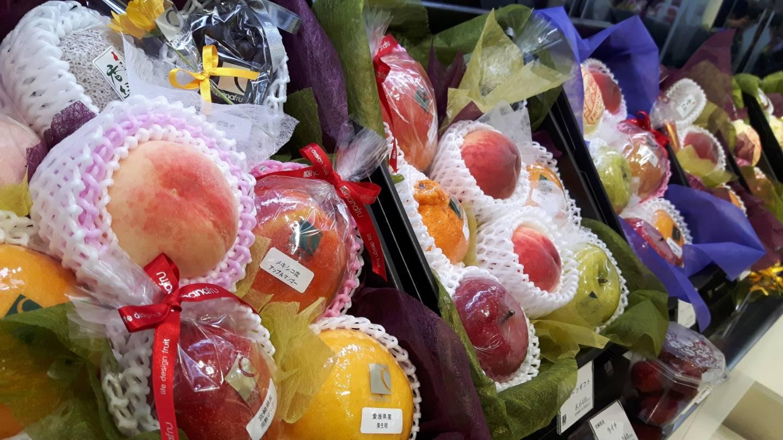 einzeln verpacktes Obst