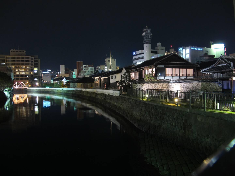 Dejima in Nagasaki bei Nacht