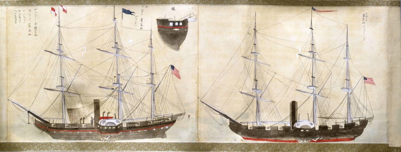Abbildung der Ankunft der Schwarzen Schiffe 1853 in Japan