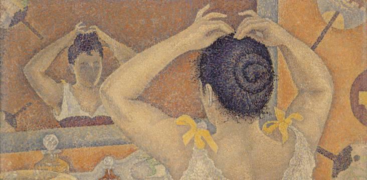 Paul Signac, Frisierszene, Opus 227 (Dekorationsentwurf für einen Waschraum), 1892, Privatsammlung, © All Rights reserved