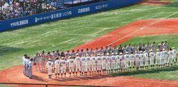 Spieler der Keiō und Waseda treffen beim Frühjahrsturnier 2008 aufeinander.
