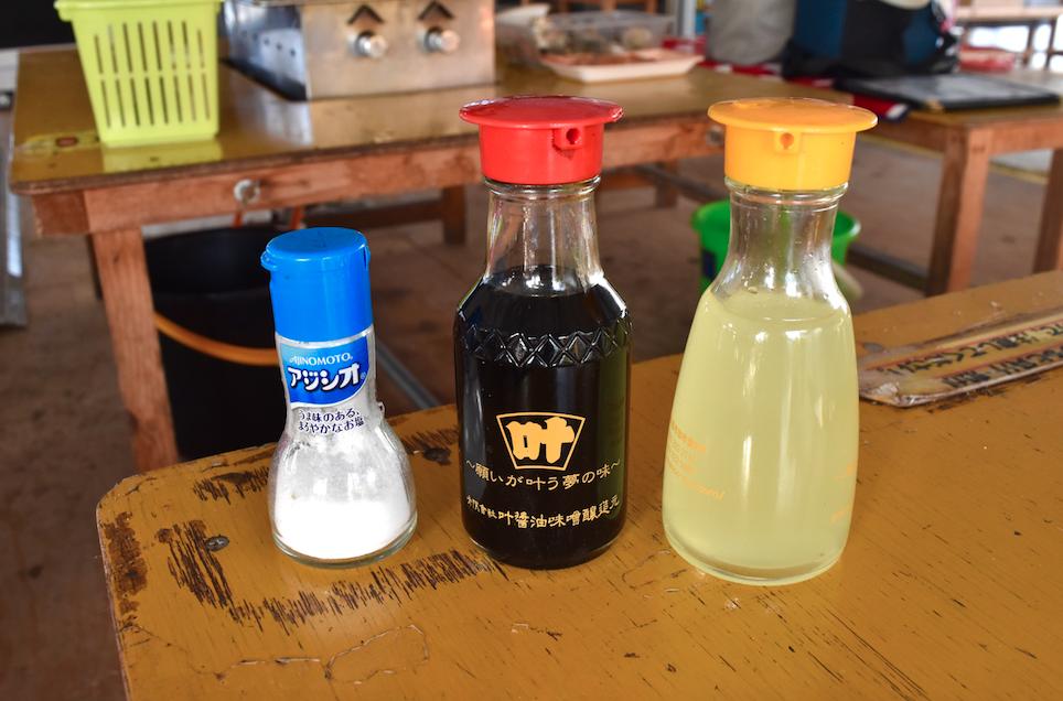 Salz, Sojasauce, Zitronensaft