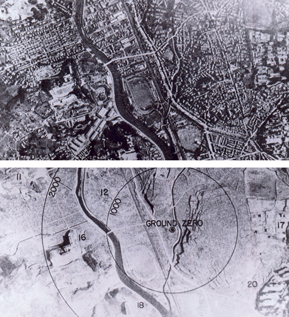 Atombomb auf Nagasaki 1945 - vorher und nachher