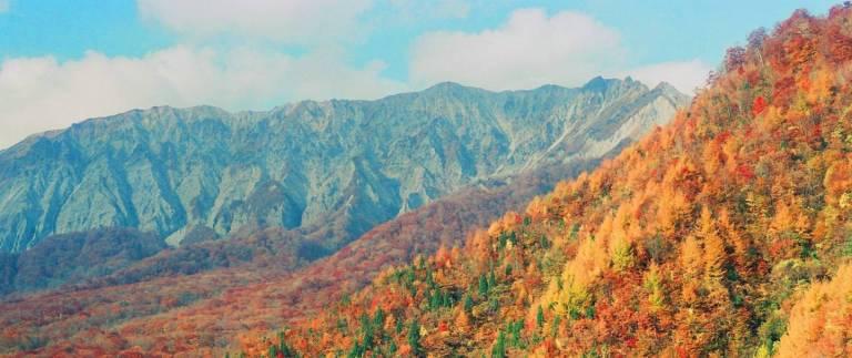herbstliche Berglandschaft in Japan