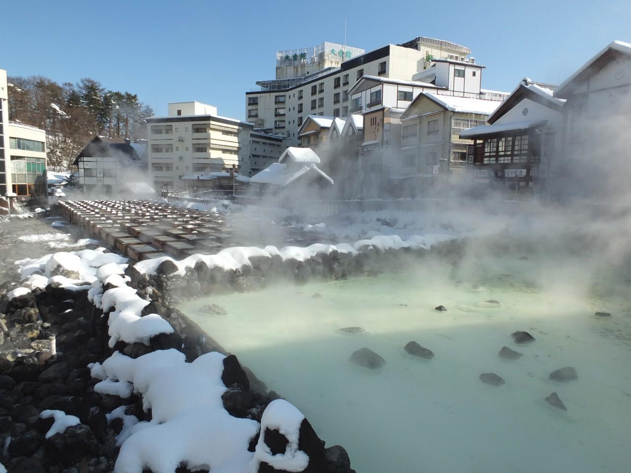 der Onsen-Ort Kusatsu Onsen im Winter