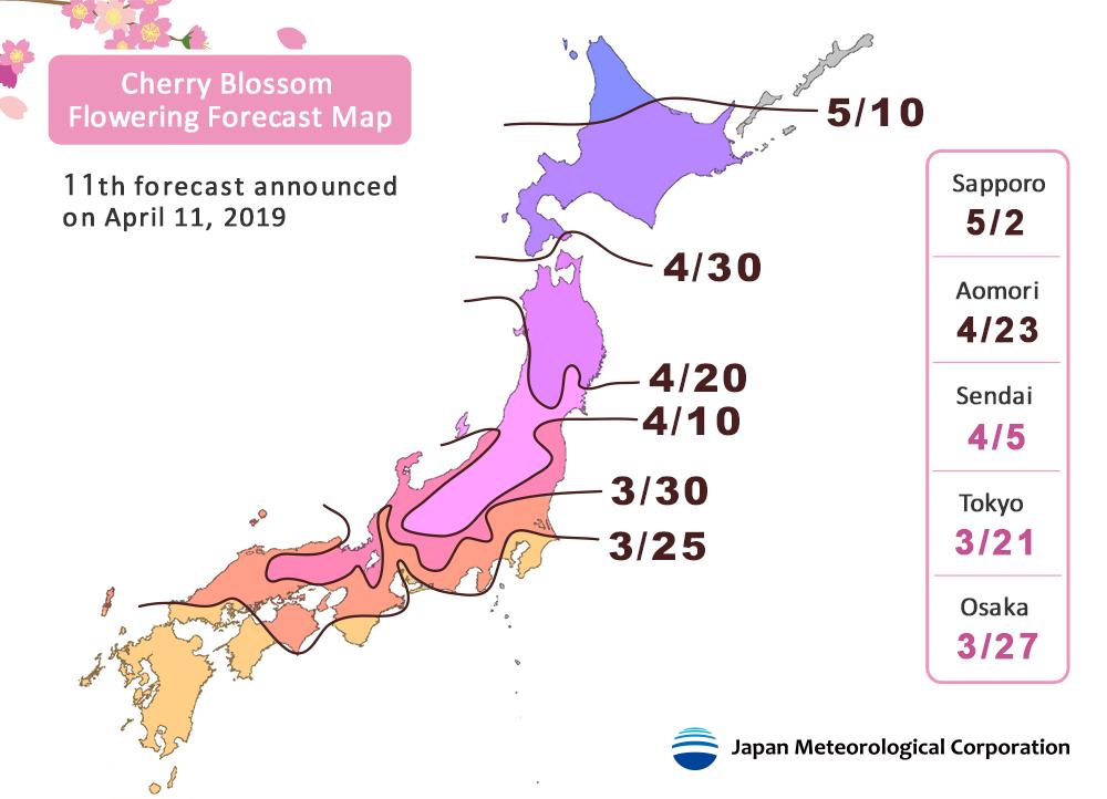 Grafik: Landkarte zu den Blütezeiten der Kirschblüte in verschiedenen Regionen Japans