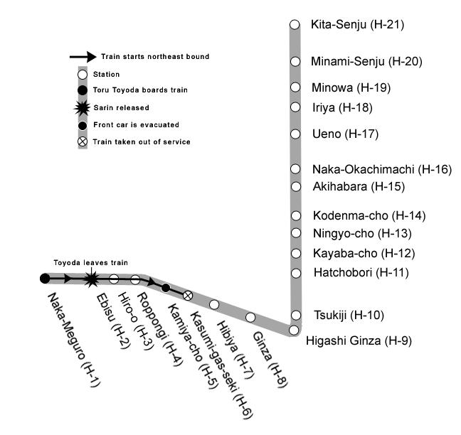 Die Stationen der Hibiya Linie, wo der Sarin-Giftgasanschlag stattfand.