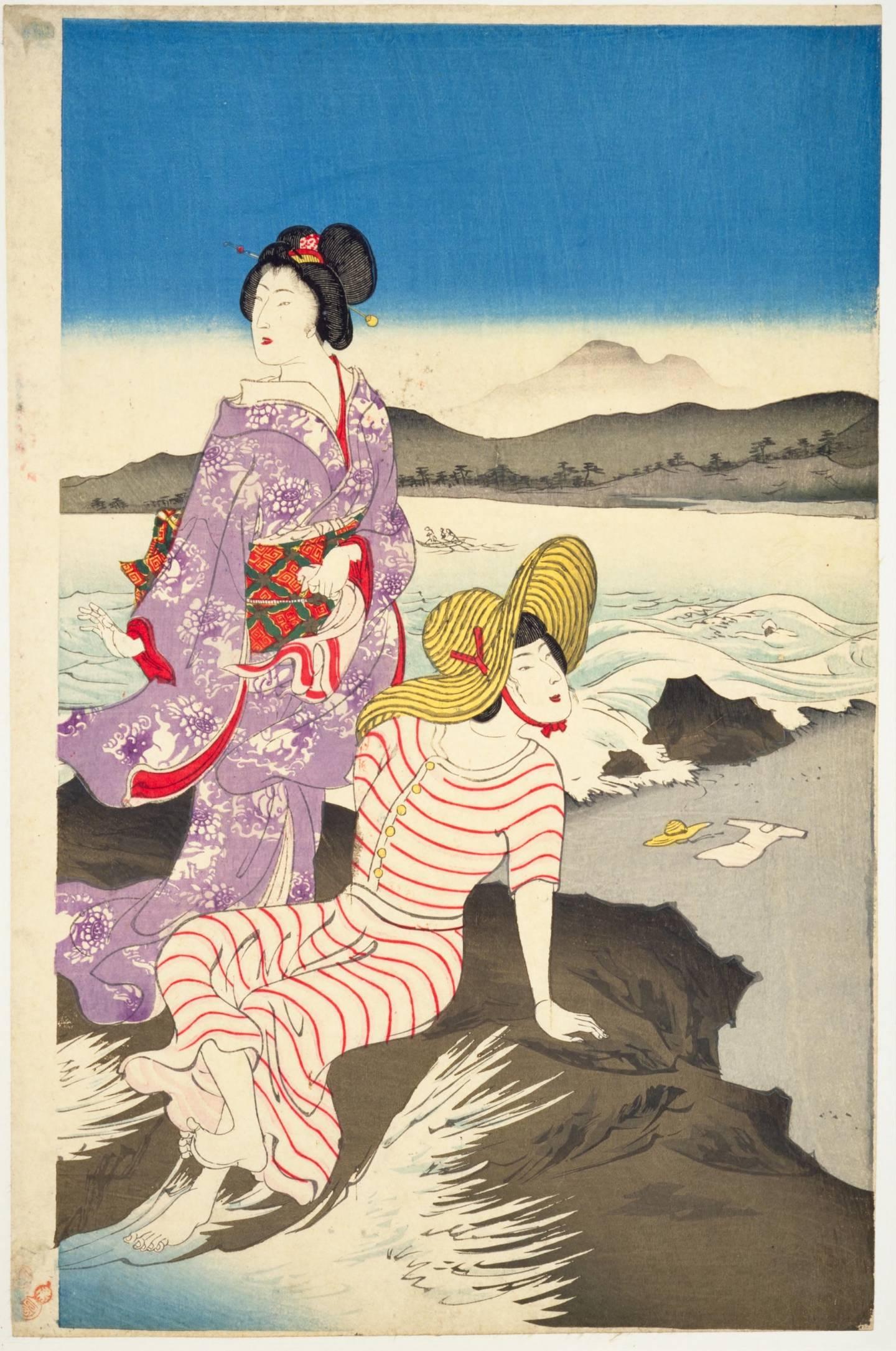 Kimono kombiniert mit westlichen Modeeinflüssen in der Meiji-Zeit.