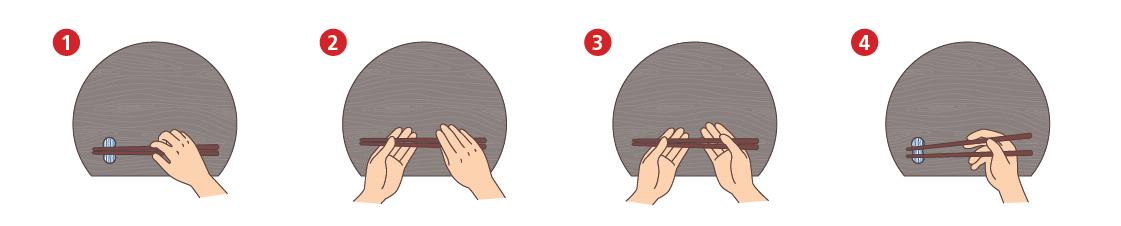 Anleitung zum richtigen Aufnehmen von Stäbchen