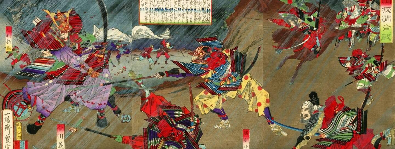 Oda Nobunaga besiegte in der Schlacht von Okehazama seinen Rivalen, Daimyō Imagawa Yoshimoto, inmitten eines Sturms.