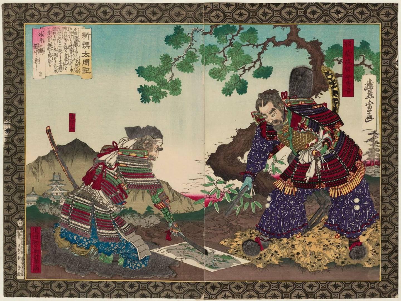 Hideyoshi (links) und Kuroda Yoshitaka (rechts) besprechen während der Chūgoku-Kampagne einen Schlachtplan.