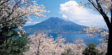 Der Vulkan Sakurajima in der Bucht vor Kagoshima.