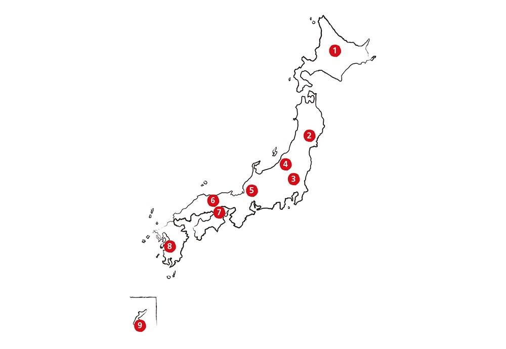 Japankarte mit eingezeichneten Power Spots