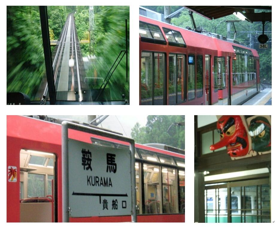 Bildercollage von einem Panoramazug zum Kurama-Tempel