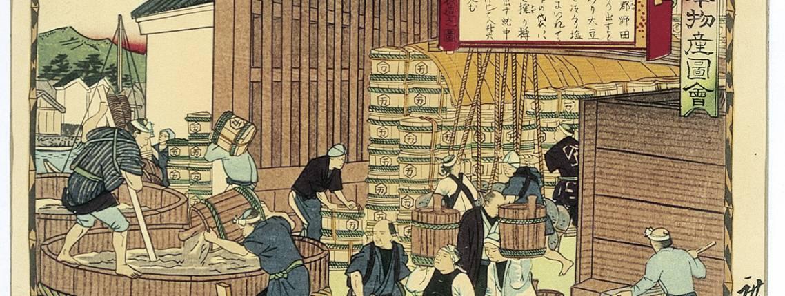 bild der traditionellen sojasaucen herstellung
