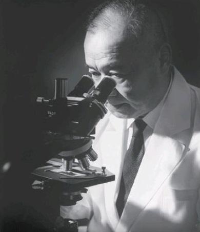 Schwarzweiß-Foto von Minoru Shirota, der durch ein Mikroskop blickt