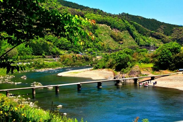 Shimanto Fluss mit kleiner Brücke