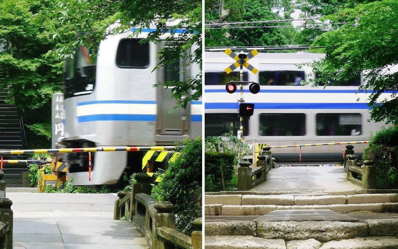 Fotocollage: Zug fährt über das Gelände des Enkakuji