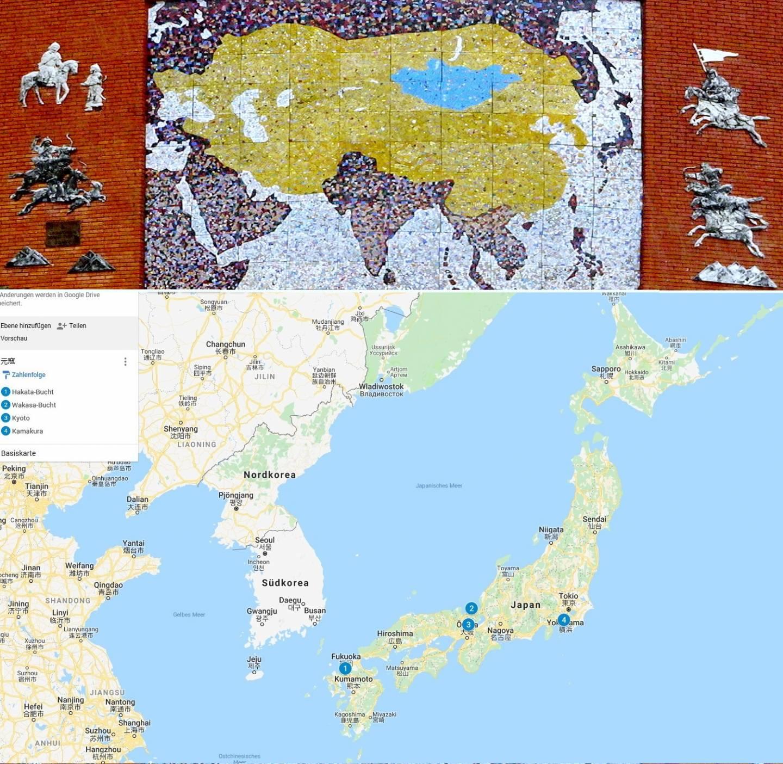 Fotocollage: Karte des Mongolisches Territoriums zu seinem Höhepunkt und Kartenansicht von Japan auf Google maps