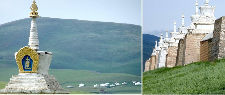 Fotocollage von Ruinen der ehemaligen mongolischen Hauptstadt