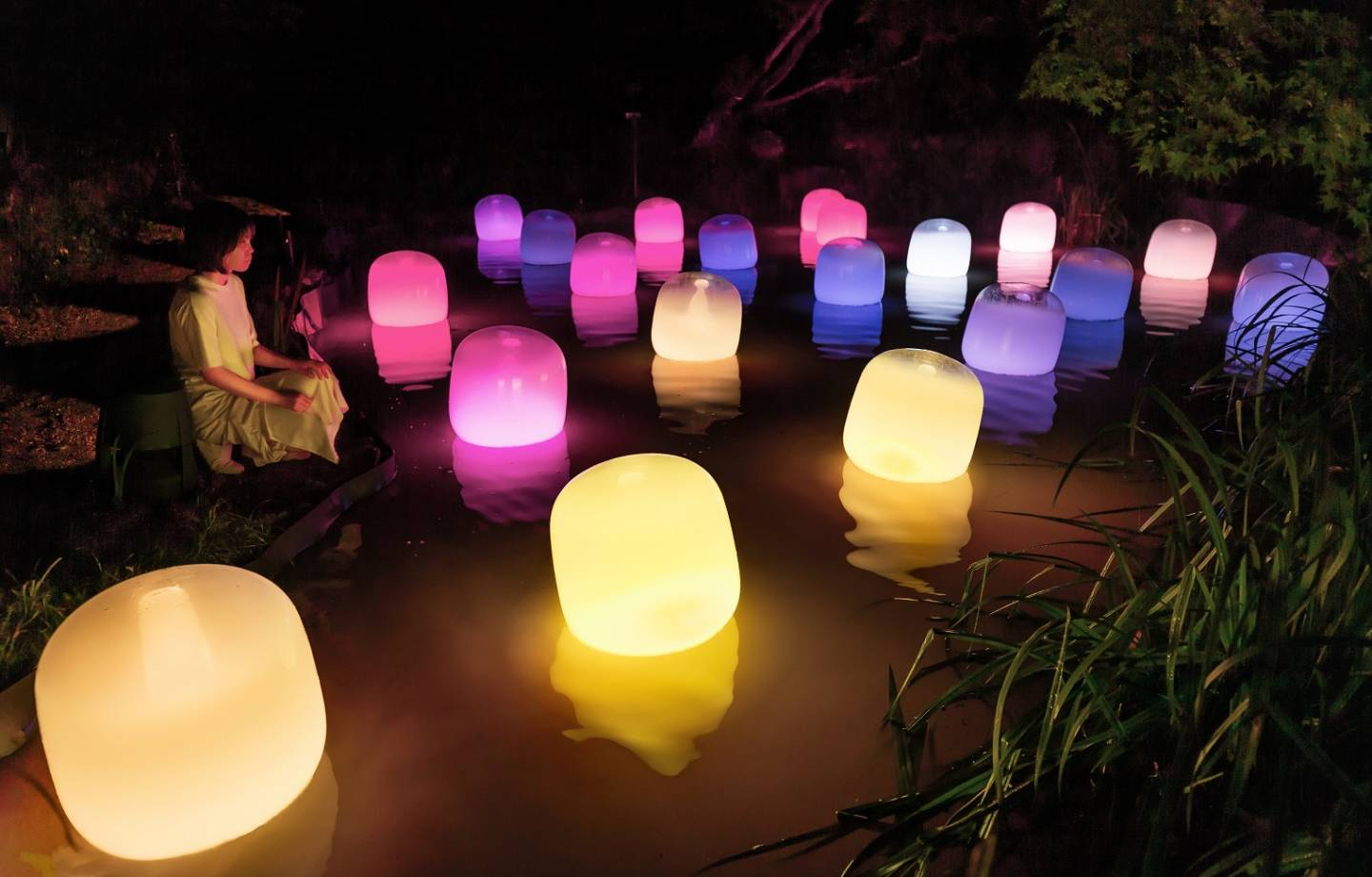 Floating Resonating Lamps - One Stroke, Summer Forest at Night
