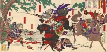 Holzschnitt japanischer Samurai im Kampf