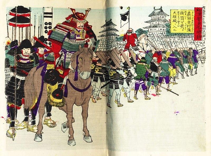 Holzschnitt von Sanada Yukimura auf Pferd vor Samurai-Kriegern