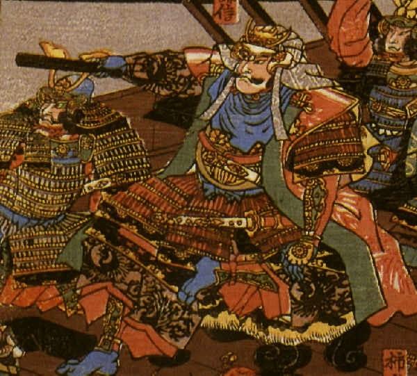 Holzschnit von Uesuge Kenshin in Samurai-Rüstung