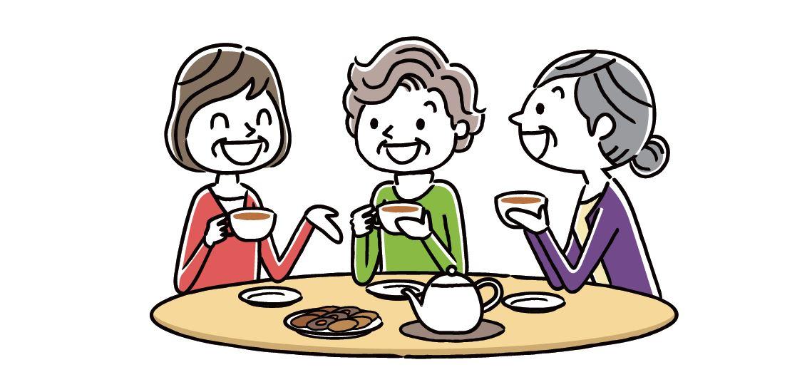 Grafik: Frauen beim Teetrinken