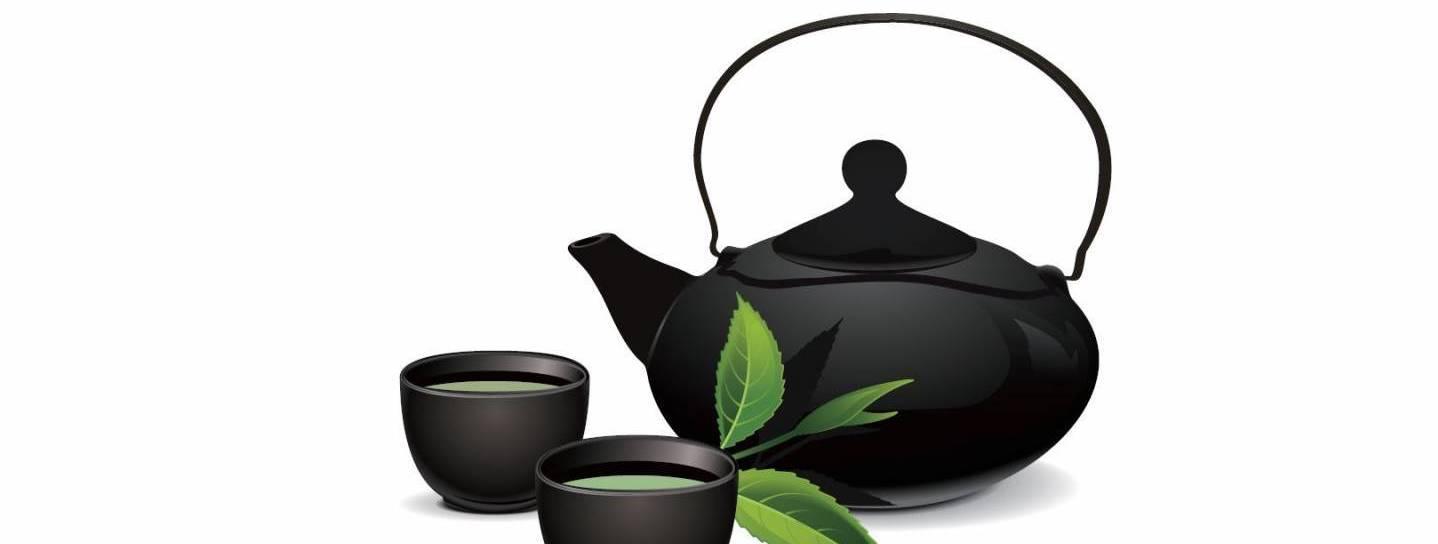 Illustration einer Teekanne mit Bechern