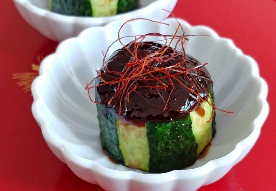 Zucchinischeiben mit Miso-Sauce